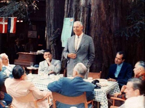 Two future U.S. presidents, Ronald Reagan and Richard Nixon, are pictured with Harvey Hancock (standing) and others at Bohemian Grove in the summer of 1967.