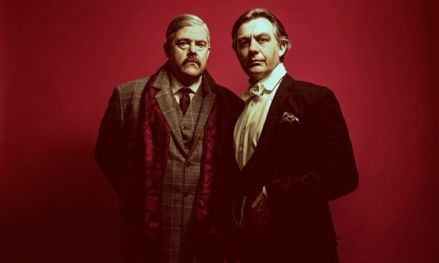 Phill Jupitus as Conan Doyle and Alan Cox as Houdini in Impossible, premiering at this year's Edinburgh festival. Photograph: Idil Sukan/Draw HQ