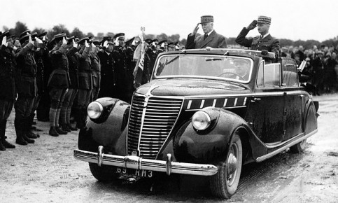 Marshal Pétain (on the left in the car) during an inspection of Segry camp near Chateauroux, in Vichy, France, 1942. Photograph: Hulton-Deutsch Collection/Corbis