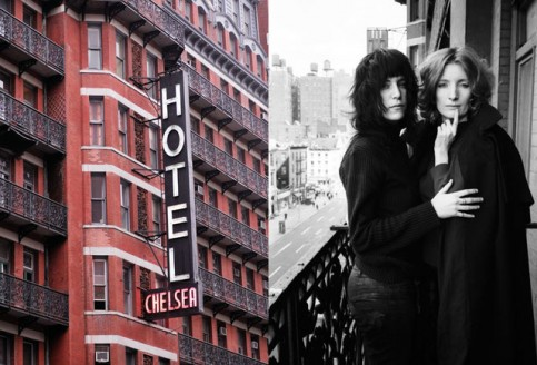 Left, the façade of the Chelsea Hotel, which was built in 1873. Right, residents Patti Smith and Viva (an Andy Warhol superstar), on one of the hotel balconies in 1971., Left, by Christian Heeb/laif/Redux; Right by David Gahr/Getty Images