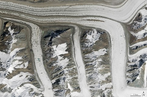 Glaciers in the Tian Shan mountains, north-east Kyrgyzstan
