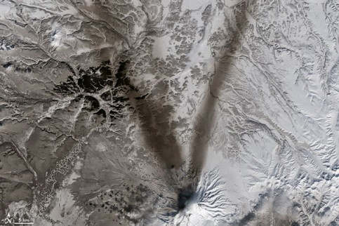 Letter V: ash on the snow around Shiveluch volcano on Russia's Kamchatka peninsula