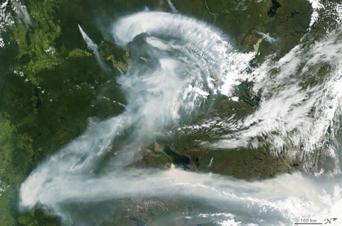 Letter Z: wildfire smoke over Canada
