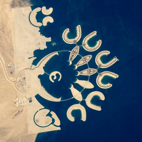 Artificial islands at the southern end of Bahrain island