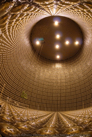 The Super-K's detector houses 13,000 photomultipliers that help detect the smallest trace of light from neutrino interactions. Kamioka Observatory/ICRR/University of Tokyo