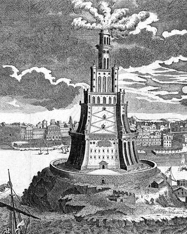 The great Pharos lighthouse built in 280 BC. Illustration: Universal Images Group/Getty