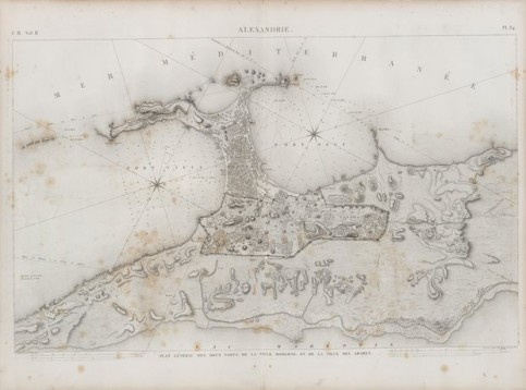 Drawings of the two ports of Alexandria. When planning the city, future roads and houses were marked with barley flour in a life-sized blueprint. Illustration: NYPL
