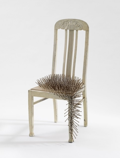 """Untitled"", 1965. Nails and dispersion on chair (height 108 cm). Private collection, Germany."