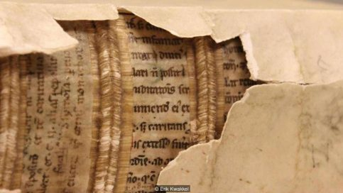 "Historian Erik Kwakkel discovered ""hidden libraries"" within Medieval book bindings (Credit: Erik Kwakkel)"