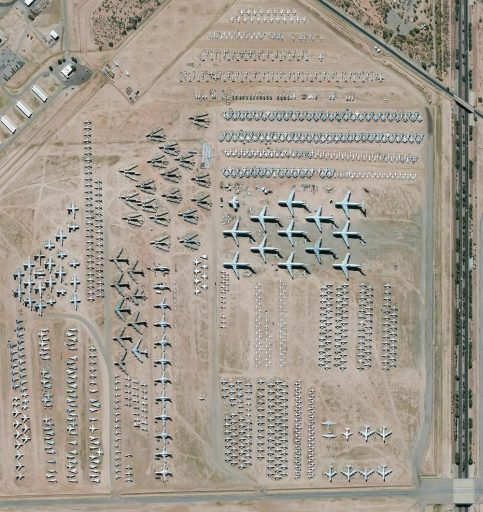 The largest aircraft storage and preservation facility in the world is located at Davis-Monthan Air Force Base in Tucson, Arizona, USA. The boneyard—run by the 309th Aerospace Maintenance and Regeneration Group—contains more than 4,400 retired American military and government aircrafts.