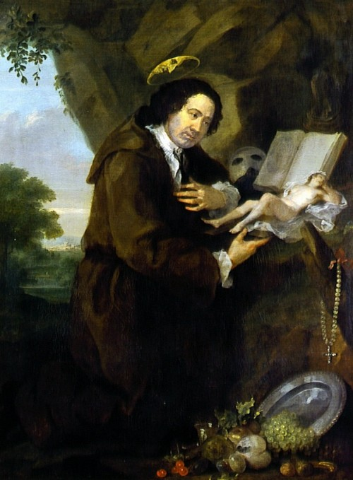 Portrait by William Hogarth from the late 1750s, parodying Renaissance images of Francis of Assisi. The bible has been replaced by a copy of the erotic novel Elegantiae Latini sermonis, and the profile of his friend Lord Sandwich peers from the halo.