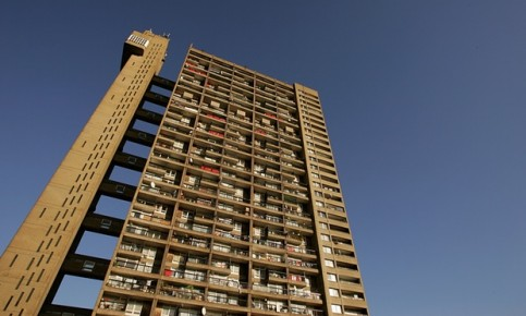 A Routemaster bus will visit brutalist landmarks including Trellick Tower in North Kensington, west London. Photograph: Scott Barbour/Getty Images