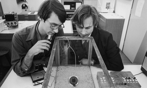 Richard Dawkins at Oxford in 1976, pictured right, studying insect behaviour with student Ted Burk. Photograph: Terry Smith/The Life Images Collection/Getty
