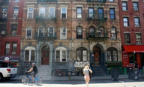The section of St Marks Place featured on the Led Zeppelin album cover today. Photograph: Paul Owen for the Guardian