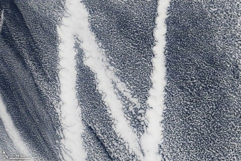 Ship tracks over the Pacific. Ship emissions contain small particles that cause the clouds to form
