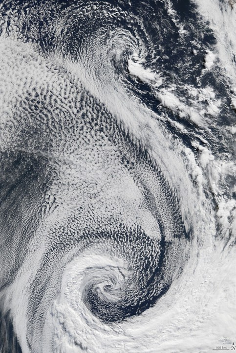 Clouds swirling over the Atlantic