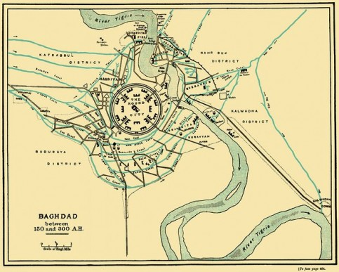 An 1883 illustration of early Baghdad