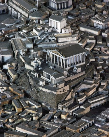 A model of the temple of the Capitoline Triad in ancient Rome. Photograph: G Dagli Orti/Rex/Shutterstock