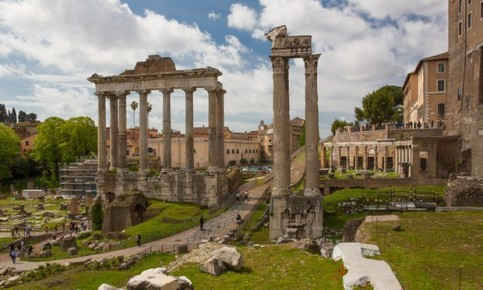 Ancient Rome today: ruins of the Temple of Saturn below the Capitoline Hill (right of picture). Photograph: 167/Kenneth Ginn/Ocean/Corbis