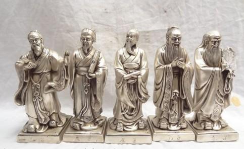 9-China-Silver-literati-Lao-Tzu-LaoZi-Mencius-Mo-tse-ZhuangZi-Khofngzuo-Statue-Retro-bronze-factory
