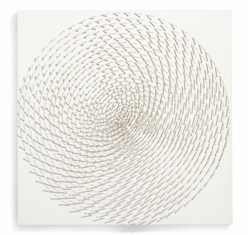 """Spirale"", 1969. Oil and nails on canvas mounted on panel (60 x 60 x 6 cm)."