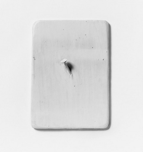 """New York"", 1966. White color on nail on wooden plate (17,5 x 12,5 cm)."