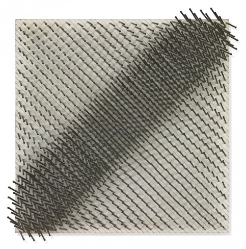 """Diagonal Structure"", 1965-75. Nails and graphite on canvas on panel (40 x 40 x 8.5 cm)."