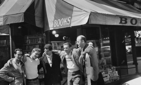 From left to right: Bob Donlin, Neal Cassady, Allen Ginsberg, Robert LaVinge, and Lawrence Ferlinghetti stand in front of the City Lights bookshop in 1956, owned by the latter then. Photograph: Allen Ginsberg/Corbis
