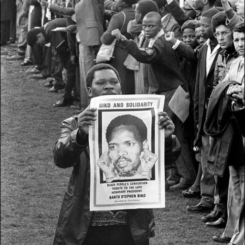A man holds a picture of South African students leader Steve Biko, at his funeral in King William's Town, 1977. Photograph: AFP/Getty Images